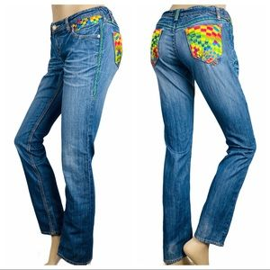 COOGI Straight Leg Embroidered Jeans